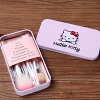 mini make up kit - HELLO KITTY mini brush kit pink set Professional makeup brushes beauty maquiagem make up pincel maquiagem
