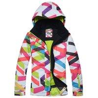 anorak pattern - womens waterproof breathable geometric pattern bright curves snowboard jacket ladies ski jacket anorak skiwear