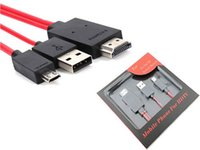 Wholesale HDMI Cables Full HD P pin M FT Micro USB MHL To HDMI HDTV Adapter Converter Cell Phone Red Cable For Samsung Galaxy S5 S3 S4 Note