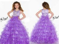 beaded presents - New Arrival Organza Pageant Gowns Jeweled Beaded Sleeveless Ball Gown Full Length Tiered Girl s Flower Present Dresses With V neck