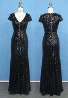 Wholesale Mermaid Black Sequin Prom Dress With Sleeves V neck Long Sparkly Formal Evening Gown Real Photo Available Plus Size