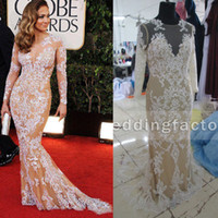 Cheap Real Image High Quality Oscar Zuhair Murad Sheer Mermaid Prom Dresses Long Sleeve Lace Appliques Evening Gowns Celebrity Gown