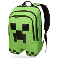 Wholesale Minecraft Creeper backpack with double zipper compartments and padded base dividers back straps