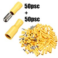Wholesale 100pcs Pairs Female Male Insulated Bullet Terminal Electrical Crimp Connector Assortment Kit mm Yellow AWG