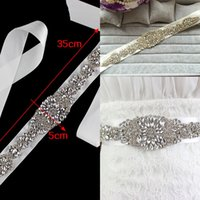 Wholesale 2016 High Quality Luxury Cheap Sparkly Bridal Dress Decoration belts Supplies Rhinestone Crystal Wedding Accessory Satin Sashes for Bridal