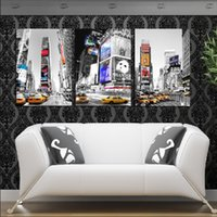 Cheap 3 Panel Hot Sell Modern Wall Painting Home Decorative Art Picture Paint on Canvas Prints Skyscrapers, the land of the city cars