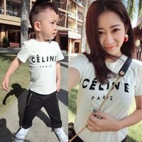 Wholesale Family fitted mother Boys Girls White Letters T Shirts Summer Short Sleeve Family fitted Tee Shirt Cotton Shirts C001