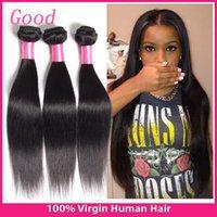 7a Remy Brazilian Hair Droit Naturel 3pcs Noir peut être teint / lot 100% Hair Extensions non traitées tout droit brésilien humaines Brazilian Hair