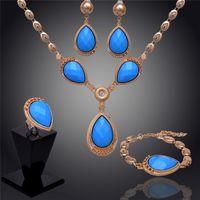 aquamarine gold earrings - 2014 Women k Gold Filled Austrian Crystal Blue Aquamarine Necklace Bracelet Earring Ring Wedding Jewelry Set