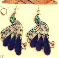 Cheap Exempt postage fashion national wind peacock earrings