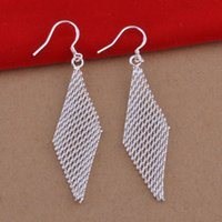 Wholesale Foreign trade jewelry plated sterling silver earrings diamond earrings Korean pop woven