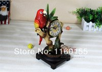 antique parrot - Special Offer European Creative Parrot Bamboo Southeast Asia Rural Table Clock