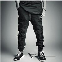 Wholesale New Mens men high fashion denim black biker rappied distressed jean joggers Street casual swag hiphop jeans pants masculina