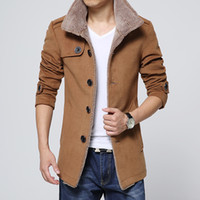 Wholesale Brand Winter Fashion Cool Men s Lambs Wool Lining Jacket Coat Male Thick Turtle Neck Warm Jacket Outerwear Male Slim Fit Trench Coat T2826