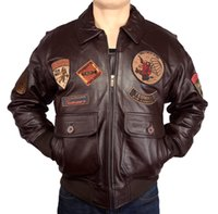 avirex leather - Fall New Top Gun Men A2 Avirex Leather Jackets Large Size Cotton Lining Warm Russian Winter Coats Genuine Cowskin