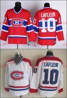 achat en gros de canadiens hockey jersey for kids-Canadien # 10 Guy Lafleur Cheap Chandails ICE Hiver Hommes Femmes enfants cousu expédition Jersey gratuit