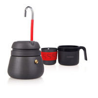 aluminum stock pots - 350ml Anodized Aluminum Portable Outdoor Camping Hiking Coffee Maker Pot with Cups H10058