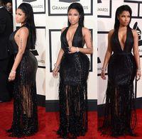 Wholesale 2015 th Annual Grammy Awards Sexy Red Carpet Celebrity Dresses Sequins Sheath Deep V Neck Illusion Formal Cocktail Dresses Nicki Minaj
