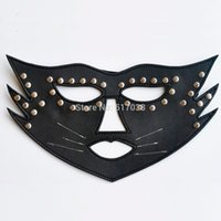adult cat halloween costumes - w1031 Black cat women leather sex mask for fox couples adult flirting slave roleplaying game Halloween costume night club party