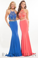 Wholesale Soft Chiffon Sheath - Two Pieces 2016 Prom Dresses Crystal Beading Sheath Formal Girls Pageant Dresses Long Ball Gowns With Crew Neck Sexy Backless Soft Chiffon