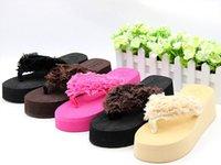 ash wedge sandals - Summer men flip flops platform wedge sandals and slippers floral women high heel platform Sandals Sandals ASH