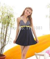 Cheap Wholesale-V.S. DressTan kini swimwear swimsuit 1 one piece skirt women,cheap bather Navy White strip Bathing suit-Free shipping