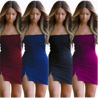 b skirt - European And American Women s Sexy Strapless Zipper Collar Long Sleeved Dress Miniskirt Package Hip Skirt Nightclub Dress Size S XL B
