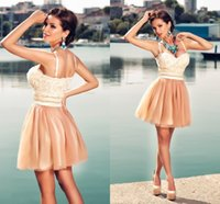 Wholesale Backless Short Prom Dresses Sexy Sweetheart Empire Attachable Spaghetti Lace Tulle Mini Brown White Special Occasion Party Dresses