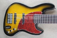 6 string bass guitar - Six Strings Sunset Yellow Black edge Top Electric Bass Guitar Maple Neck Headstock Rosewood Fingerboard Red Turtle Pickguard