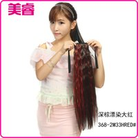Wholesale Factory M33HRED dyeing dark brown long hair ponytail red ponytail color temperature wire volume horsetail Hot