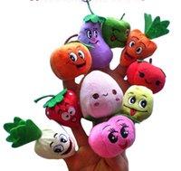 Cheap Hot sale 100PCS LOTFruit & Veggie finger puppets set Finger Puppet Dolls Toys Story-telling Props Tools Toy Model Babies Kids Children Toys