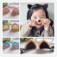 fashion children hair clip - 10pcs pair kids Baby headbands Fashion cute cat ears hair accessories children Girls jewelry baby headwear Hair clips S007