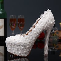 ballet pigs - Sweet White FlowersLlace Wedding Shoes Pearl Bride Wedding Dress Shoes Lady Party Prom Shoes High heeled Pumps
