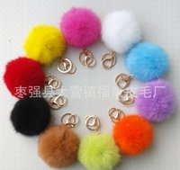 Wholesale Real Rabbit Fur Keychain Pom Pom keychain fur ball Keychain Car Keyring Bag pendant Accessories