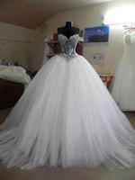Wholesale Charming Crystal White Ball Gowns Wedding Dresses Sweetheart Beaded Princess Tulle Sweep Train Bling Wedding Gown Custom Made BO5540