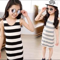 Cheap 2015 girls striped sundress kids girl stripe sleeveless vest dress jumper skirt baby children simple dresses for girls J050603#