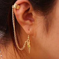 Wholesale Fashion Trendy Personality Jewelry Metal Gold Silver Punk Chain Tassel Clip Earrings Women Ear Cuff
