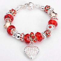 Wholesale 8 Colors Fashion sterling silver crystal glass beads Rhinestone Beads with hollow heart bracelet