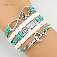 ballet designs - Infinity Love Dance Ballerina Ballet Dancer Charm Wrap Bracelets Leather Wax Cords Unisex kid child girls Women Fashion Gift Custom Design
