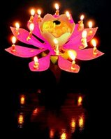 Wholesale 2015 Music Candle Blossom Lotus Flower Candle Light Birthday Party Music cake candle Sparkle musical Candle Lotus style with EMS