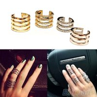 Wholesale Mutilayer Gold Silver Stack Stainless Steel Plain Crystal Mid Finger Tip Ring Rings for Men Jewelry Women ME