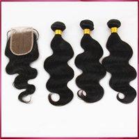 Cheap Brazilian hair bundles 3pcs lot with One pcs Lace Closure Indian Peruvian Malaysian Brazilian Body Wave Funmi Hair Weave