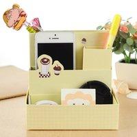 Cheap 2015 New 3 Colors Stationery Makeup Cosmetic Organizer Cute Print Desk Storage DIY Paper Board Storage Box Desk Decor