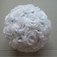 rose balls wedding - Elegant White Artificial Roses Silk Flower Ball Hanging Kissing Balls cm to CM Ball For Wedding Party Decoration Supplies