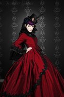 antoinette dress - 2016 Gothic Silk Marie Antoinette Fantasy Dark Red and Black Lace Ball Gown Wedding Dress Plus Size Victorian Bridal Gowns Dresses