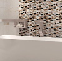 bathroom wall cladding - Mixed colors strip mosaic tile bathroom Kitchenroom backsplash Wall cladding glass mosaic marble tiles medallions