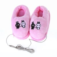 Wholesale Plush USB Foot Warmer Shoes Soft Electric Heating Slipper Cute Rabbits Pink C1520 pair DHL
