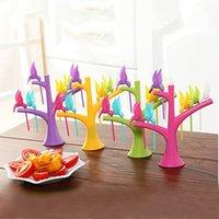 Wholesale 2015 New Arrival Hot Sale Set Cake Snack Dessert Fruit Forks Tree Shape Holder Party Home Decor RVM
