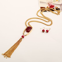bali resin - European and American classical royal golden polishing bali tassel necklace long set with macthing style earrings