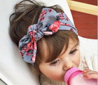 baby the band - Cotton printed children cross hair band baby head with the new European and American Bohemian popular rabbit ear hair accessories